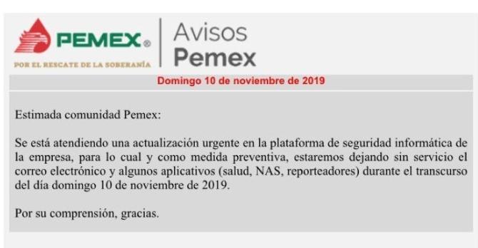 Pemex enfrenta ataque cibernético, empleados de Petróleos Mexicanos, reportan desde ayer por la mañana fallos en la red interna